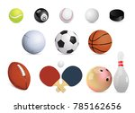 realistic sports balls set.... | Shutterstock .eps vector #785162656