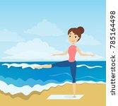 yoga at the beach. woman... | Shutterstock .eps vector #785164498