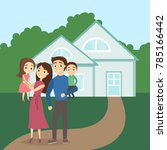 family at the new house. happy... | Shutterstock .eps vector #785166442