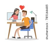 couple dating online using... | Shutterstock .eps vector #785166685