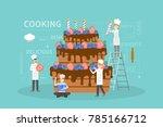 cooking big cake. chefs in... | Shutterstock .eps vector #785166712