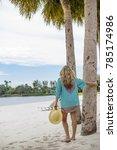 beautiful woman in sundress... | Shutterstock . vector #785174986