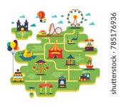 family fun amusement park map.... | Shutterstock . vector #785176936