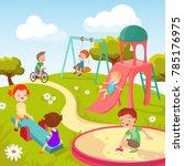 cute children at playground.... | Shutterstock . vector #785176975