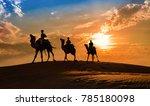 camel caravan silhouette at... | Shutterstock . vector #785180098