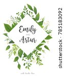 wedding invitation  floral... | Shutterstock .eps vector #785183092