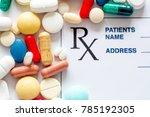 prescription pills with... | Shutterstock . vector #785192305