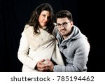 beautiful young pregnant couple ... | Shutterstock . vector #785194462