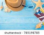 top view of travel accessories... | Shutterstock . vector #785198785