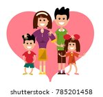 family with heart symbol... | Shutterstock .eps vector #785201458