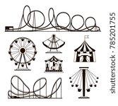 amusement park  roller coasters ...   Shutterstock . vector #785201755