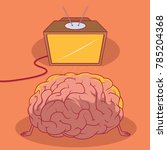 brain watching tv vector... | Shutterstock .eps vector #785204368