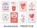 love collection with 8 cards.... | Shutterstock .eps vector #785207218