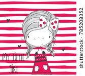 cute girl on striped background ... | Shutterstock .eps vector #785208352