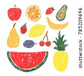 hand drawn set of fruits and... | Shutterstock .eps vector #785209696