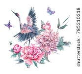 Stock photo watercolor nature card with crane pink flowers blooming peonies bee and butterflies isolated on 785210218