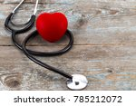 close up red heart and... | Shutterstock . vector #785212072