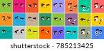 cartoon expressions set | Shutterstock .eps vector #785213425