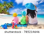 mother with twins on the... | Shutterstock . vector #785214646
