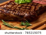 grilled black angus steak with... | Shutterstock . vector #785215075