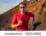 athlete runner trail running in ... | Shutterstock . vector #785215882