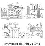 city landscapes line ... | Shutterstock . vector #785216746