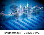 financial data on a monitor as... | Shutterstock . vector #785218492