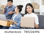 group of asian people working... | Shutterstock . vector #785226496