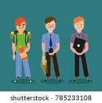 three guys with different...   Shutterstock . vector #785233108