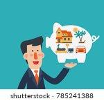 business man holds piggy bank... | Shutterstock .eps vector #785241388