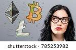 bitcoin  ethereum and litecoin... | Shutterstock . vector #785253982