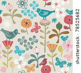 flowers and  birds | Shutterstock .eps vector #78525682