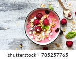raspberry smoothie bowl  ... | Shutterstock . vector #785257765