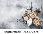 coffee ice in glass  macaroons  ... | Shutterstock . vector #785279575