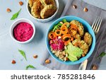 quinoa beet hummus falafel bowl ...   Shutterstock . vector #785281846