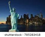 collage with manhattah skyline... | Shutterstock . vector #785283418