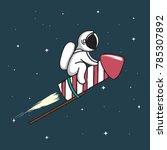 baby astronaut flying on... | Shutterstock .eps vector #785307892