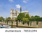 Notre Dame de Paris. View from the embankment of hay. Spring, the urban scene. - stock photo