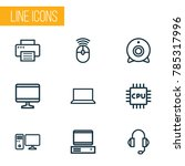 computer icons line style set... | Shutterstock .eps vector #785317996