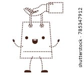 hand holding a trapezoid kawaii ... | Shutterstock .eps vector #785347912