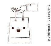 hand holding a trapezoid kawaii ... | Shutterstock .eps vector #785347942