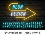 neon light alphabet  realistic... | Shutterstock .eps vector #785349946