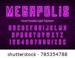 megapolis neon light alphabet ... | Shutterstock .eps vector #785354788