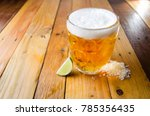 cold jar of beer with salt and... | Shutterstock . vector #785356435