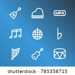 audio icon set and flat musical ...