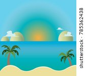 coconut tree sea sand sun... | Shutterstock .eps vector #785362438