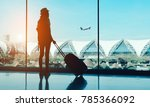 silhouette woman travel with... | Shutterstock . vector #785366092