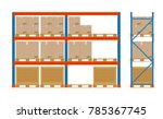 warehouse shelves with boxes.... | Shutterstock .eps vector #785367745