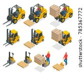Isometric Vector Forklift Truc...
