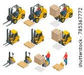 isometric vector forklift truck ... | Shutterstock .eps vector #785367772